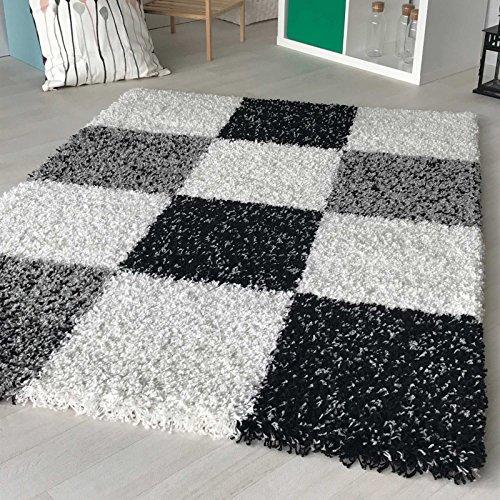 Shaggy Teppich Hochflor Langflor Teppiche Wohnzimmer: Hochflor Shaggy Teppich Kariert In Versch. Farben Und