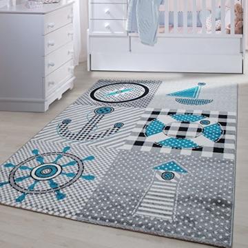 Kinder Teppiche für Kinderzimmer, Babyzimmer, Spielteppich Pirat Motiv  kariert , Multi Farben Grau Blau Rot Grün Weiss_0510, Maße:80×150 cm