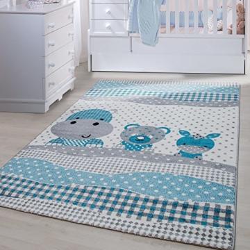 Kinder Teppiche für Kinderzimmer, Babyzimmer, Spielteppich Tiermotive  lustige Nilpferd Panda und Esel , Multi Farben Blau Grau Weiss_0530, ...